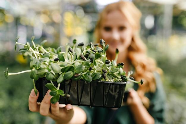 プラスチック製のポットに美しい常緑植物を保持している女性のクローズアップスナップポートレート 無料写真