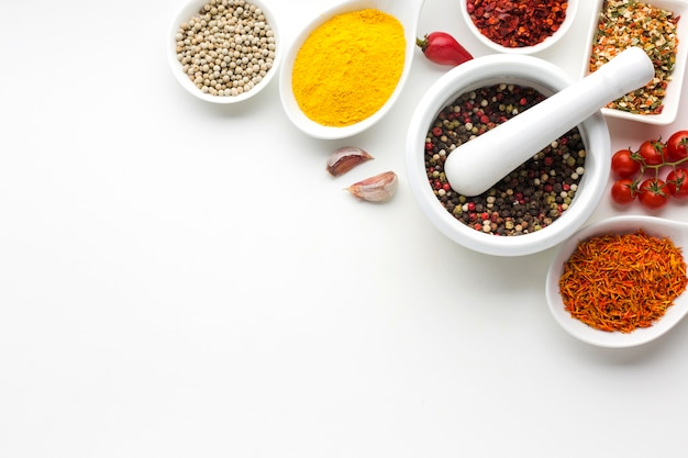 Close-up spices condiments on table Free Photo
