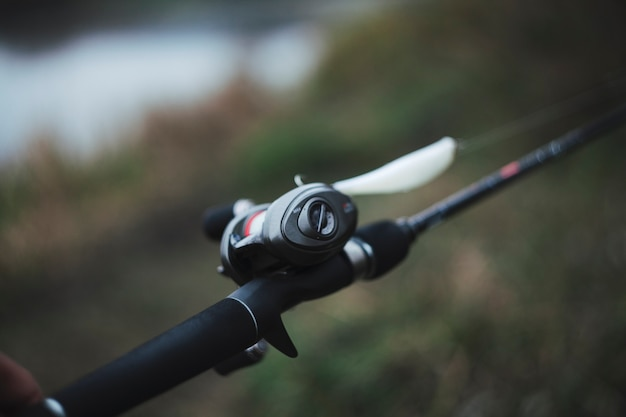 Close-up of spinning reel for fishing Free Photo