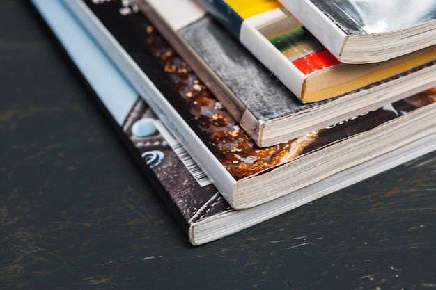 Close up stacking magazine place on table Premium Photo
