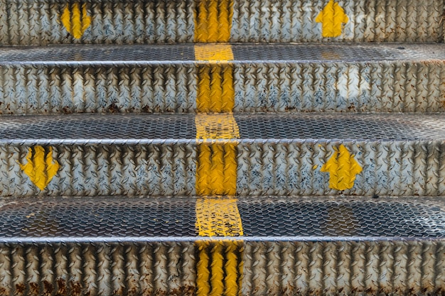 Close up stairs iron of the overpass in the city. Premium Photo