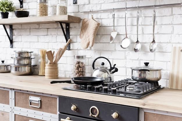 Close-up stove in stylish modern kitchen Premium Photo