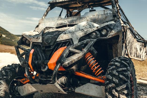 Close-up tail view of atv quad bike. Premium Photo