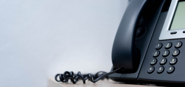 Close up telephone voip landline at office for business and telecommunication technology concept Premium Photo