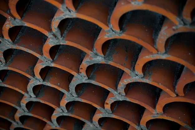 Close-up of terracotta roof tiles Free Photo
