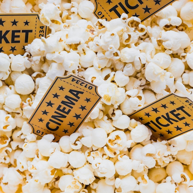 Close-up of tickets in popcorn Free Photo