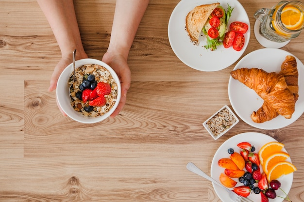 Close-up top view of person having breakfast | Free Photo