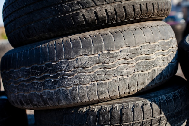 Close up tower of tires Free Photo