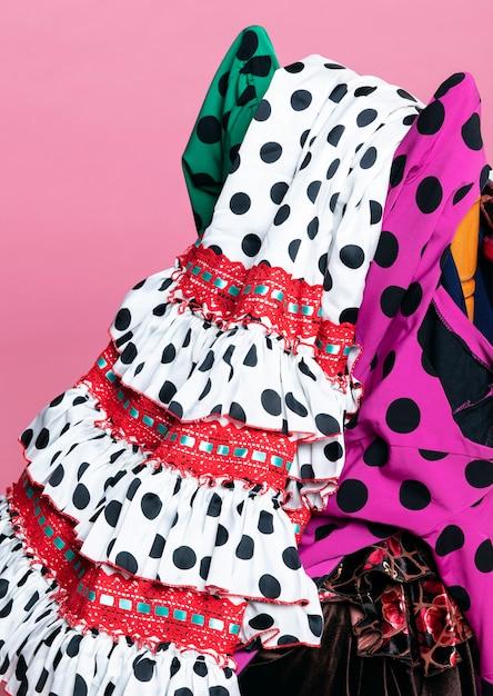 Close-up traditional flamenco dresses Free Photo