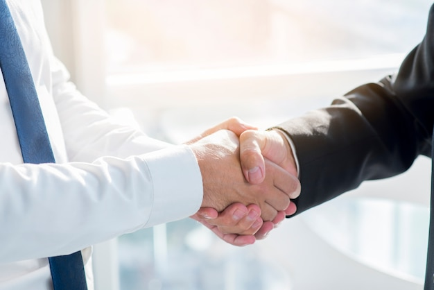 Close-up of two businesspeople shaking hands Free Photo