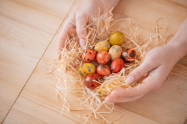 Close-up of unrecognizable woman wrapping orange and yellow easter quails eggs into hay at table Premium Photo
