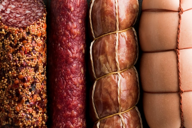 Close-up variety of delicious pork meat Free Photo