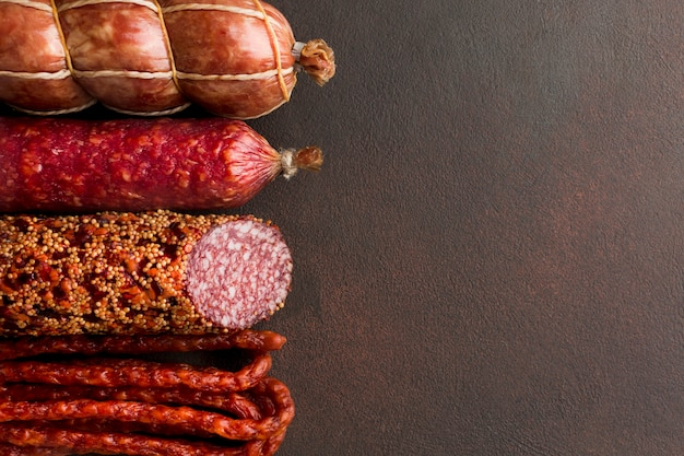 Close-up variety of fresh pork meat with copy space Free Photo