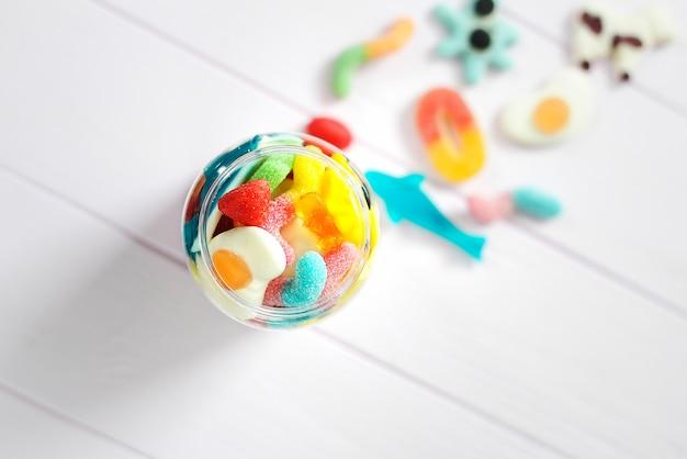 Close up on various colored jellies Premium Photo