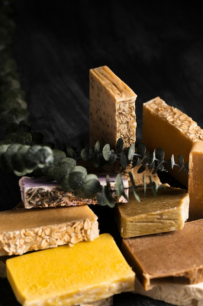 Close-up various types of soap Free Photo