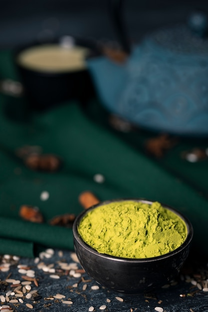 Close-up view of asian tea matcha Free Photo