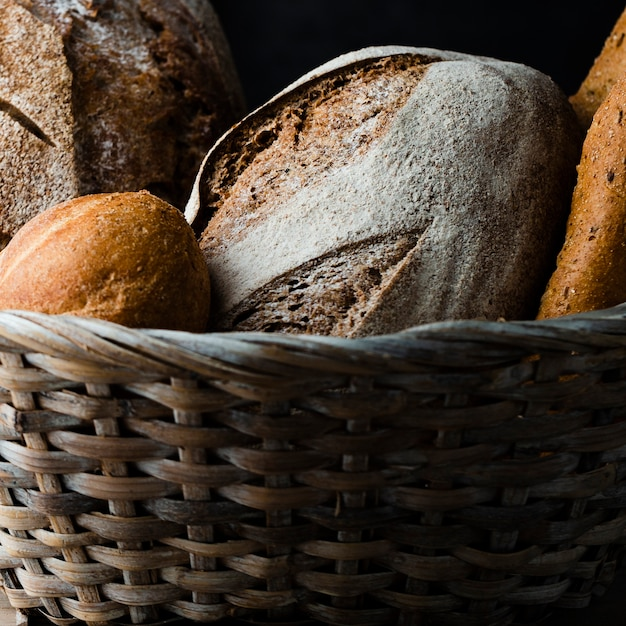 Close-up view of bread in a basket Free Photo