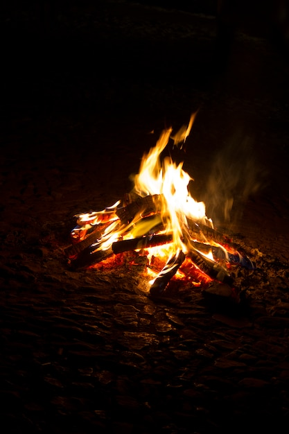 Close up view of a campfire at night. Premium Photo