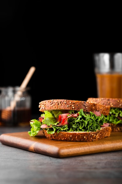 Close-up view collection of healthy sandwich Free Photo