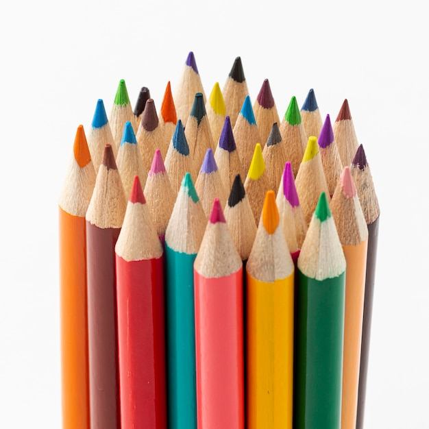 Close-up view of colorful pencils Free Photo