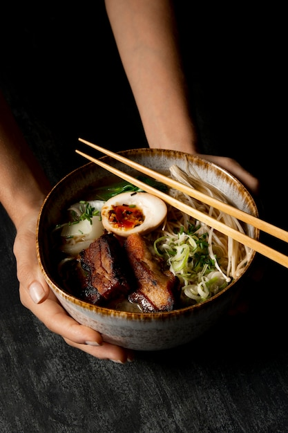 Close-up view of delicious ramen concept Free Photo