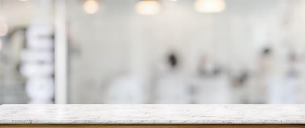 Close up view of empty counter in glass partition Premium Photo