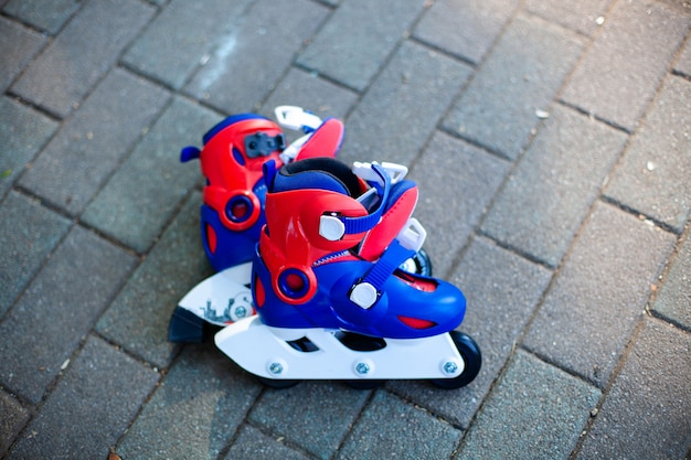 Close up view of inline skate or rollerblade Premium Photo