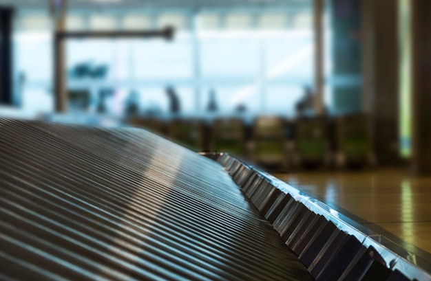 Close-up view of a luggage treadmill Free Photo