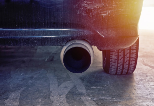 Close up view of modern car powerful exhaust pipe Premium Photo