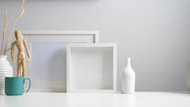 Premium Photo Close Up View Of Modern Home Interior Design With Copy Space Mock Up Frames Vases And Decorations In White Concept