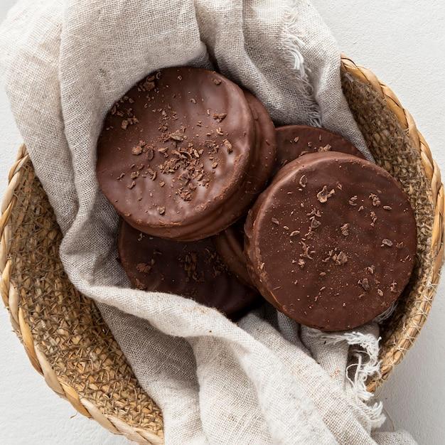 おいしいアルファジョレスクッキーのクローズアップビュー Premium写真