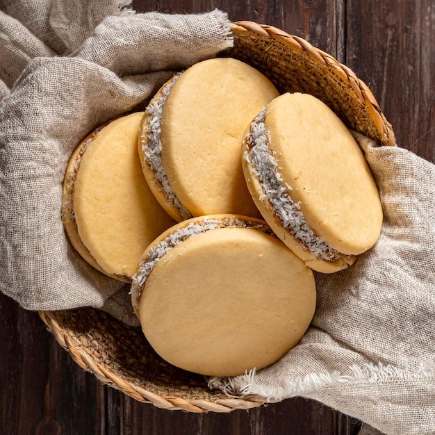 おいしいアルファジョレスクッキーのクローズアップビュー 無料写真
