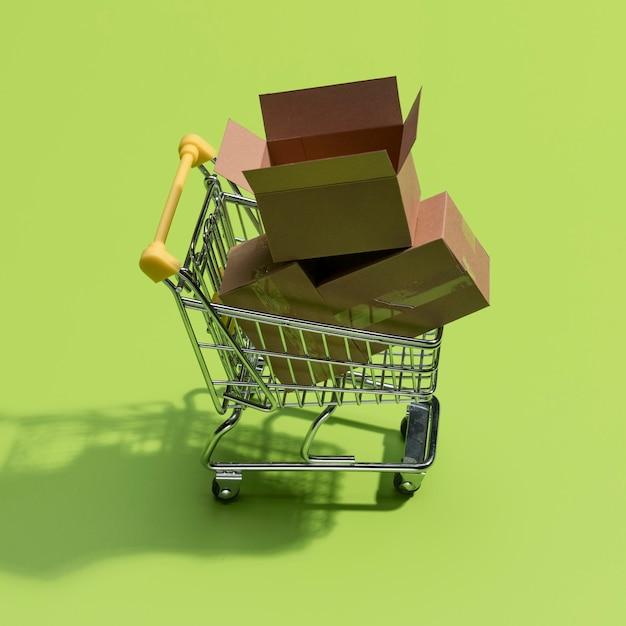 Крупным планом вид концепции онлайн покупок Premium Фотографии