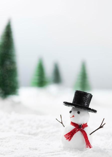 Крупным планом вид снеговика зимой концепции Premium Фотографии