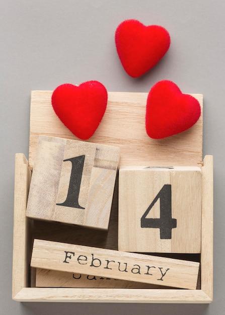 Крупным планом вид дня святого валентина с концепцией сердца Бесплатные Фотографии