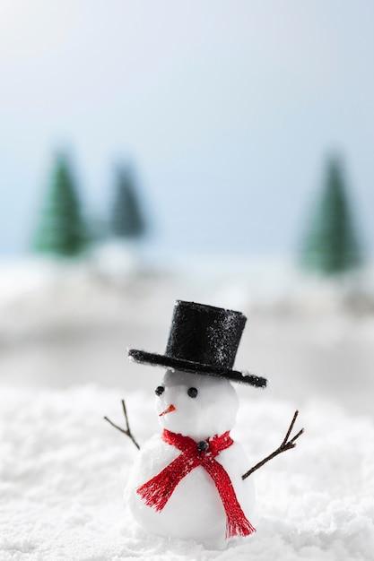 Vista ravvicinata del concetto di inverno del pupazzo di neve Foto Gratuite