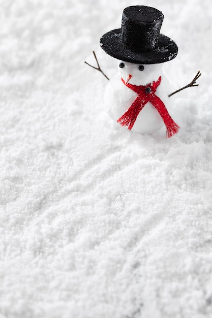 Close-up view of snowman winter concept Free Photo