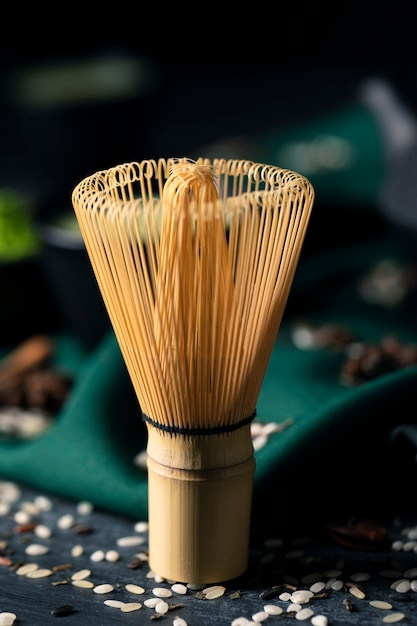 Close-up view of tranditional asian whisk Free Photo
