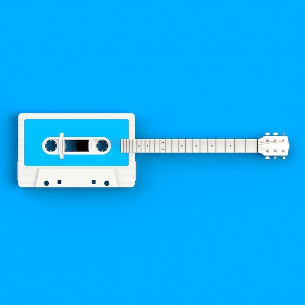 Close up of vintage audio tape cassette with acoustic guitar concept illustration on blue background Premium Photo