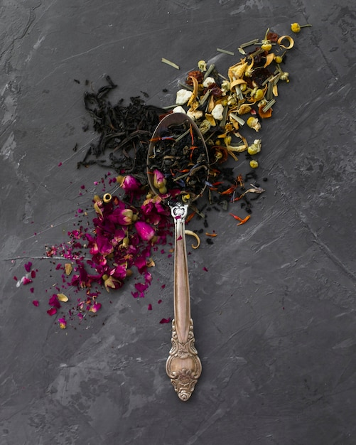 Close-up of vintage spoon with herbs Free Photo
