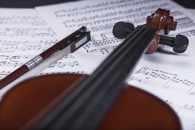 Close up violin on sheet music 23 2147781803