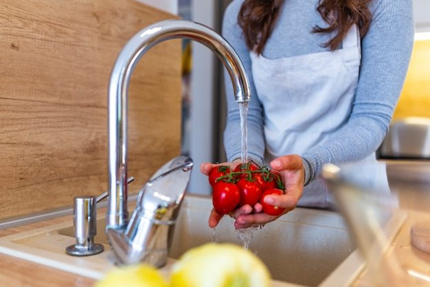 Close up of washing the vegetables Premium Photo