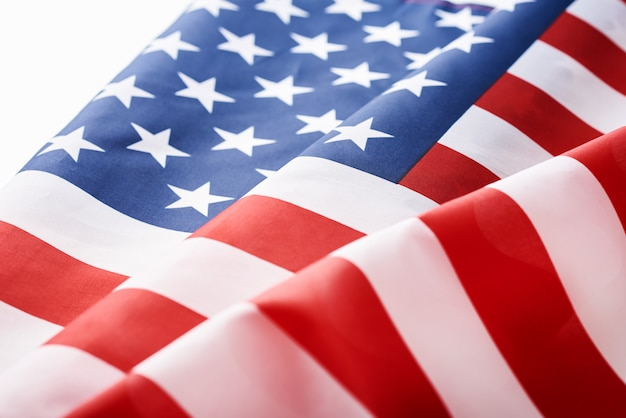Close up of waving national usa american flag. concept of memorial or independence day or 4th of july Premium Photo