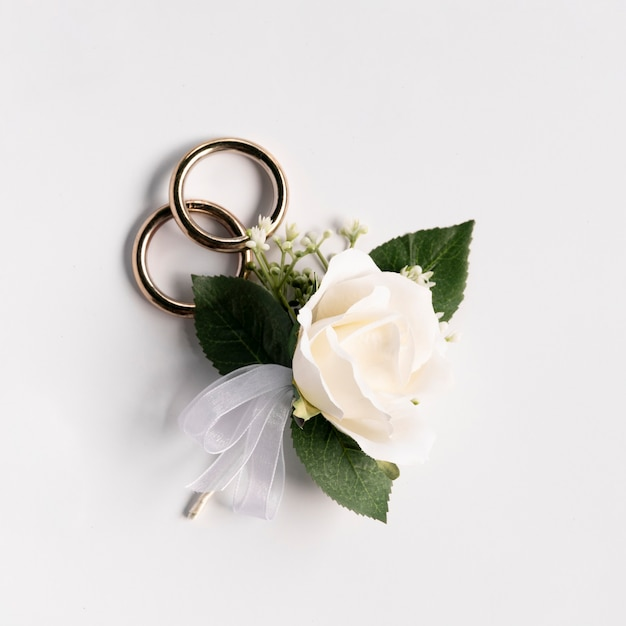 Close-up wedding rings with a rose Free Photo