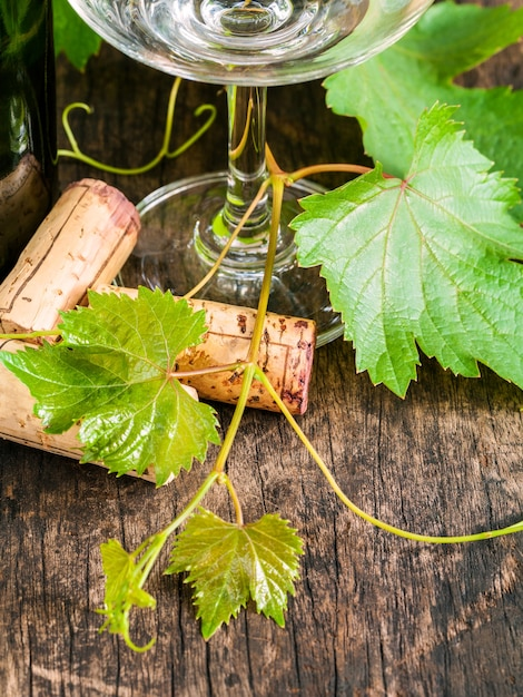 Close up wine cork with grape vine and wine glass on rustic wooden table. Premium Photo