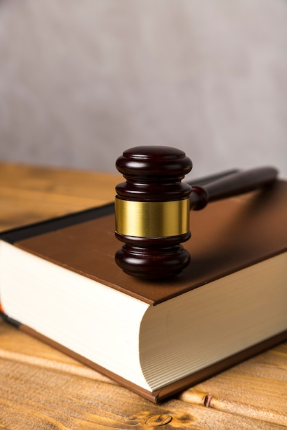 Close-up with judge gavel on a book Free Photo