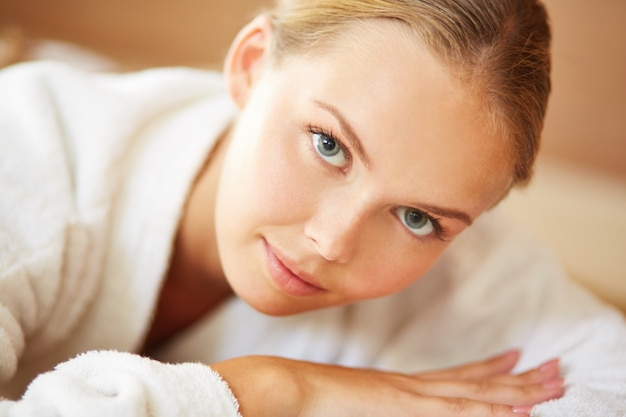 Close-up of woman in bathrobe Free Photo