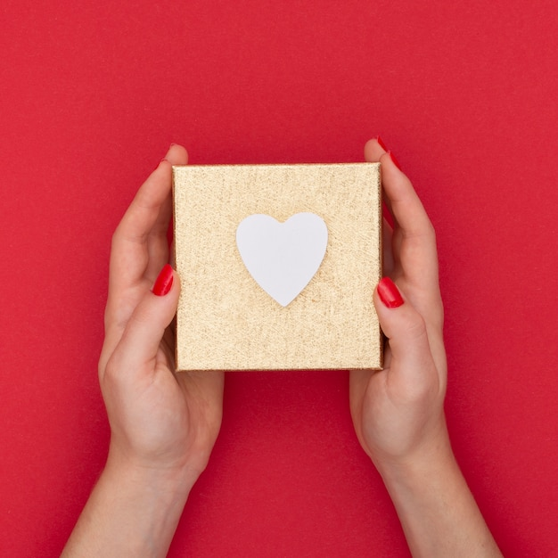 Close-up woman holding present box with red background Free Photo