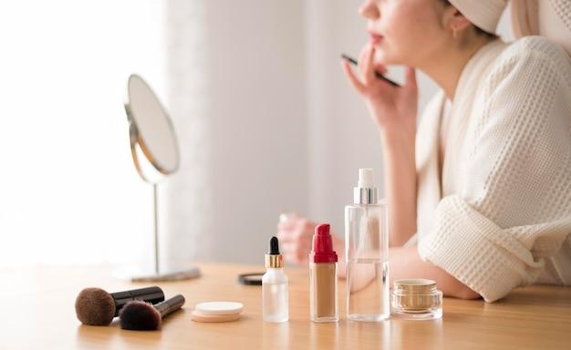Close-up woman lip make up Free Photo