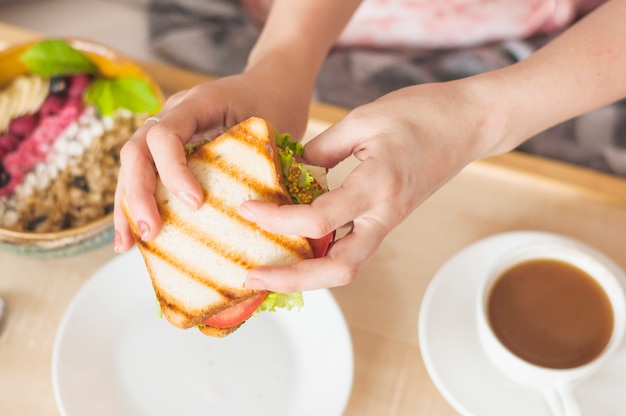 Close-up of woman's hand holding sandwich Free Photo